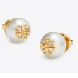 Tory Burch Pearl Logo Stud Earings